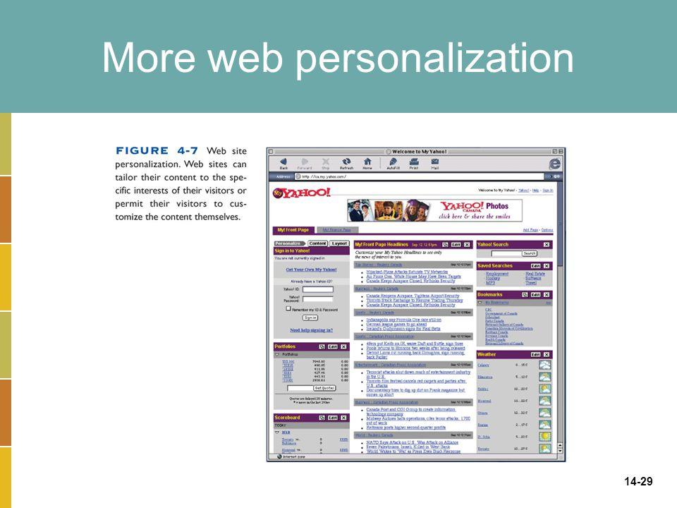 More web personalization