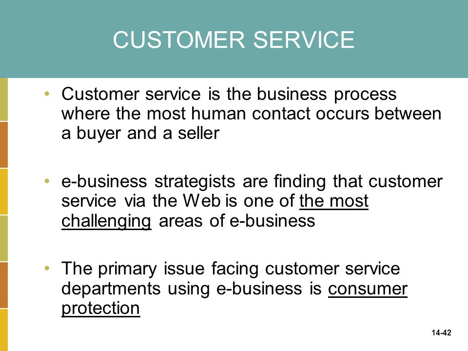 CUSTOMER SERVICE Customer service is the business process where the most human contact occurs between a buyer and a seller.
