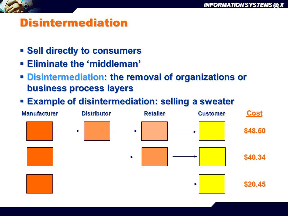 Disintermediation Sell directly to consumers Eliminate the 'middleman'