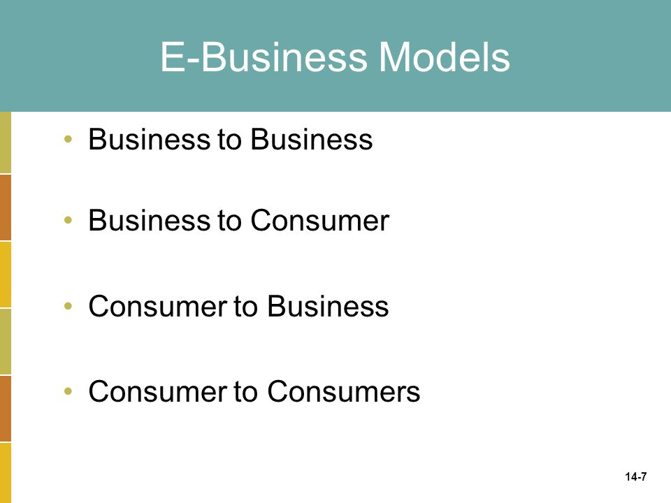 E-Business Models Business to Business Business to Consumer