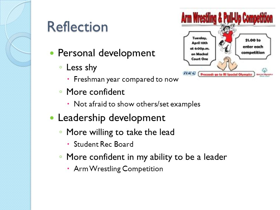 personal reflection on leadership Management personal reflection paper myers briggs personal style inventory, helping ob assessment, and emotional intelligence ob.