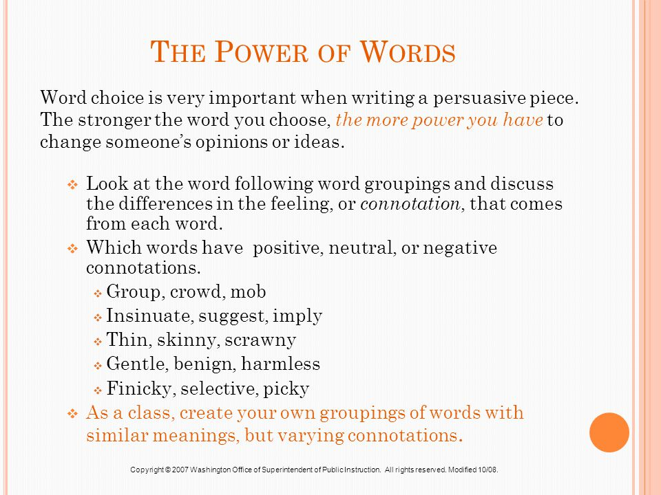 Write my the power of words essay