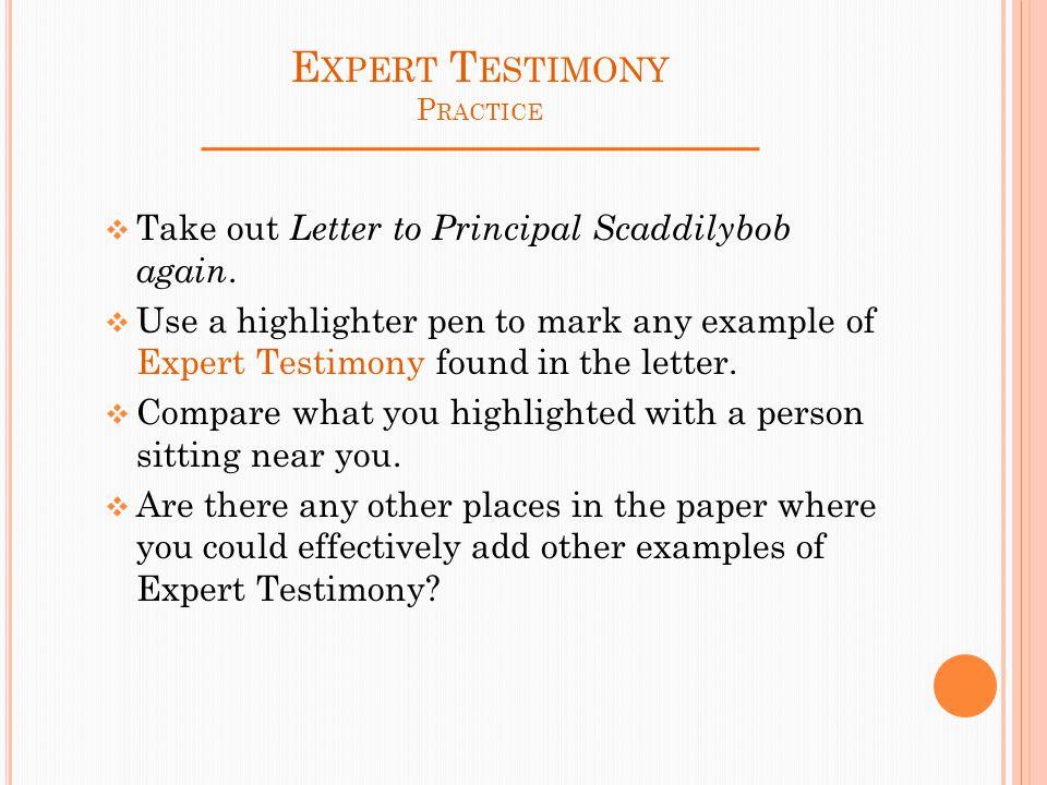 Elaboration Techniques Persuasive Word Choice Expert Testimony