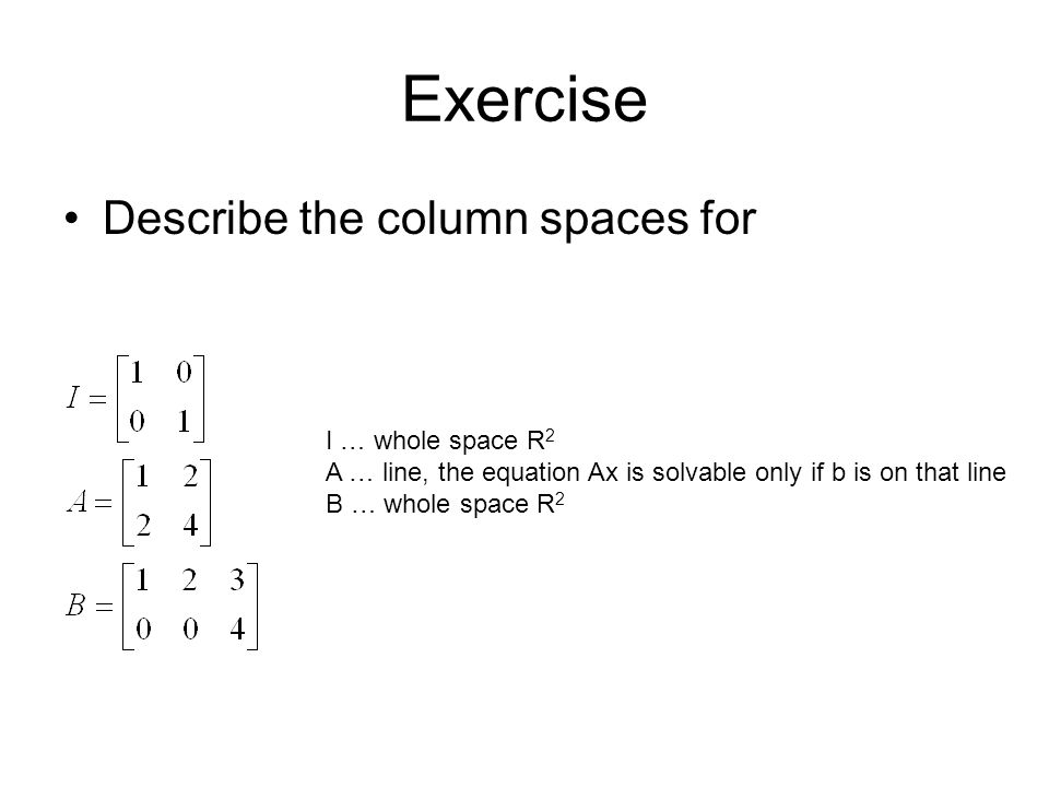 Exercise Describe the column spaces for I … whole space R2