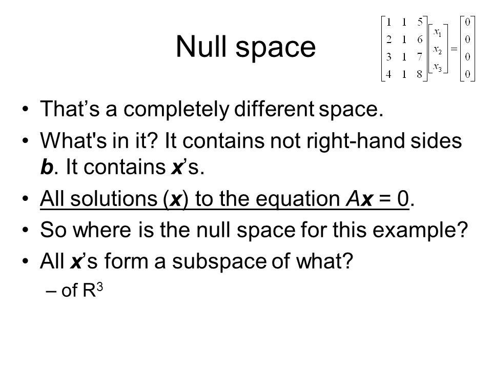 Null space That's a completely different space.