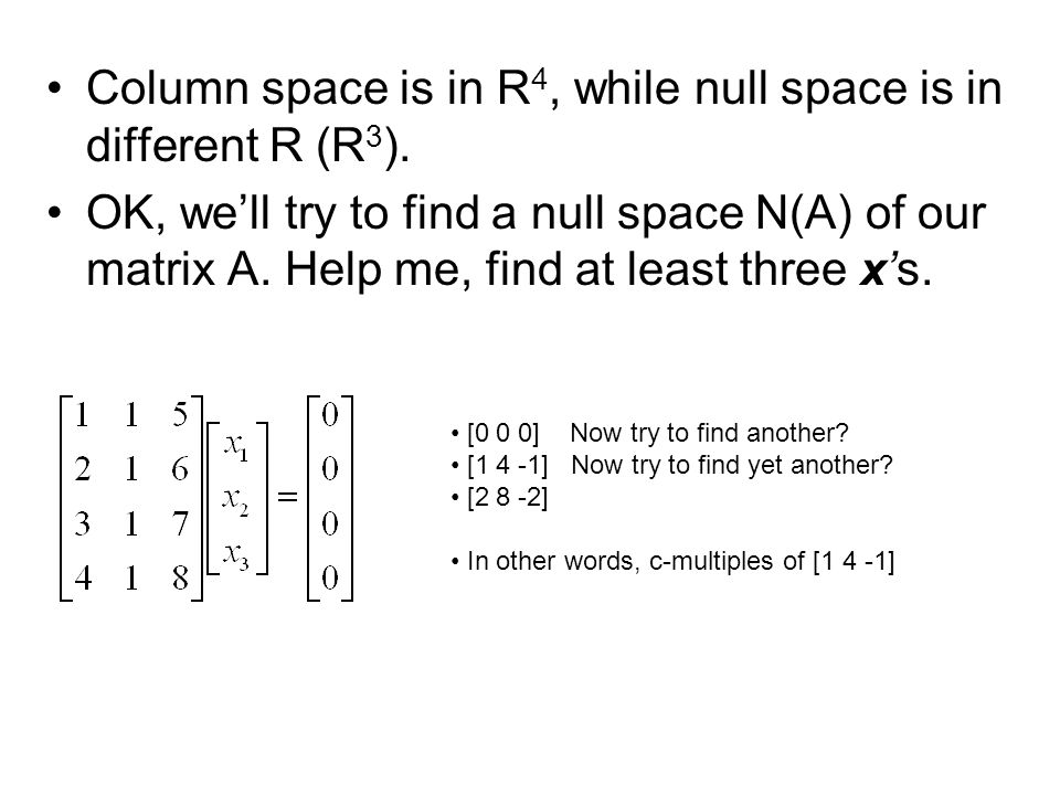 Column space is in R4, while null space is in different R (R3).