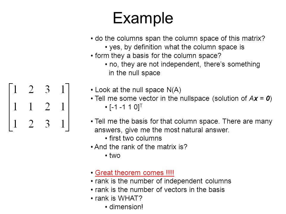 Example do the columns span the column space of this matrix