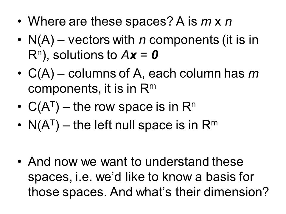 Where are these spaces A is m x n