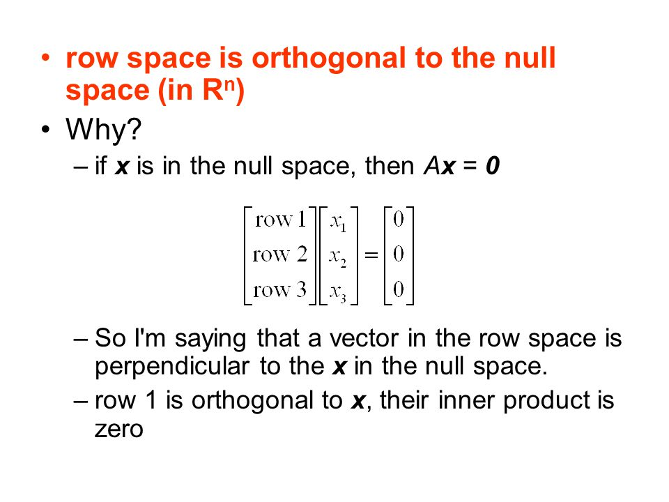 row space is orthogonal to the null space (in Rn) Why