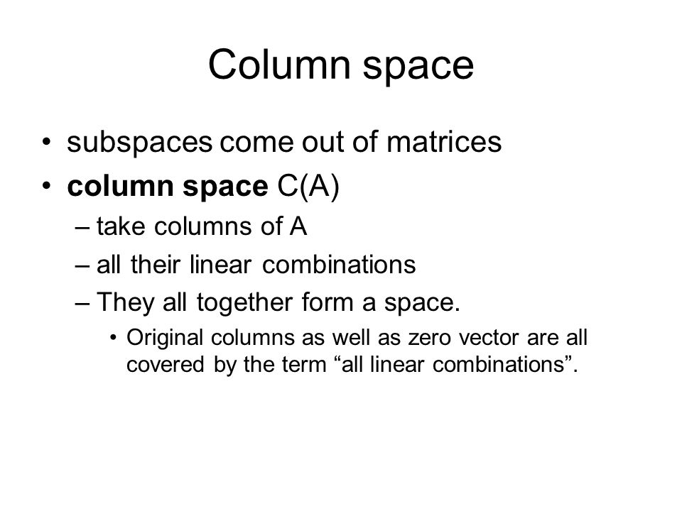 row space and column space of a matrix pdf