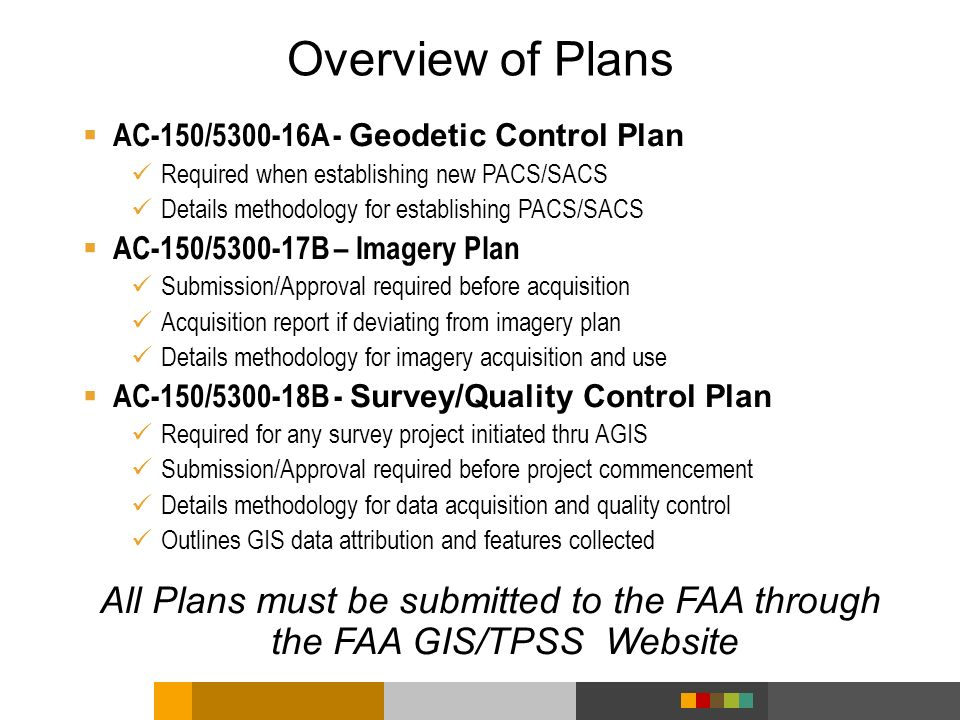 Overview of Plans AC-150/5300-16A - Geodetic Control Plan. Required when establishing new PACS/SACS.