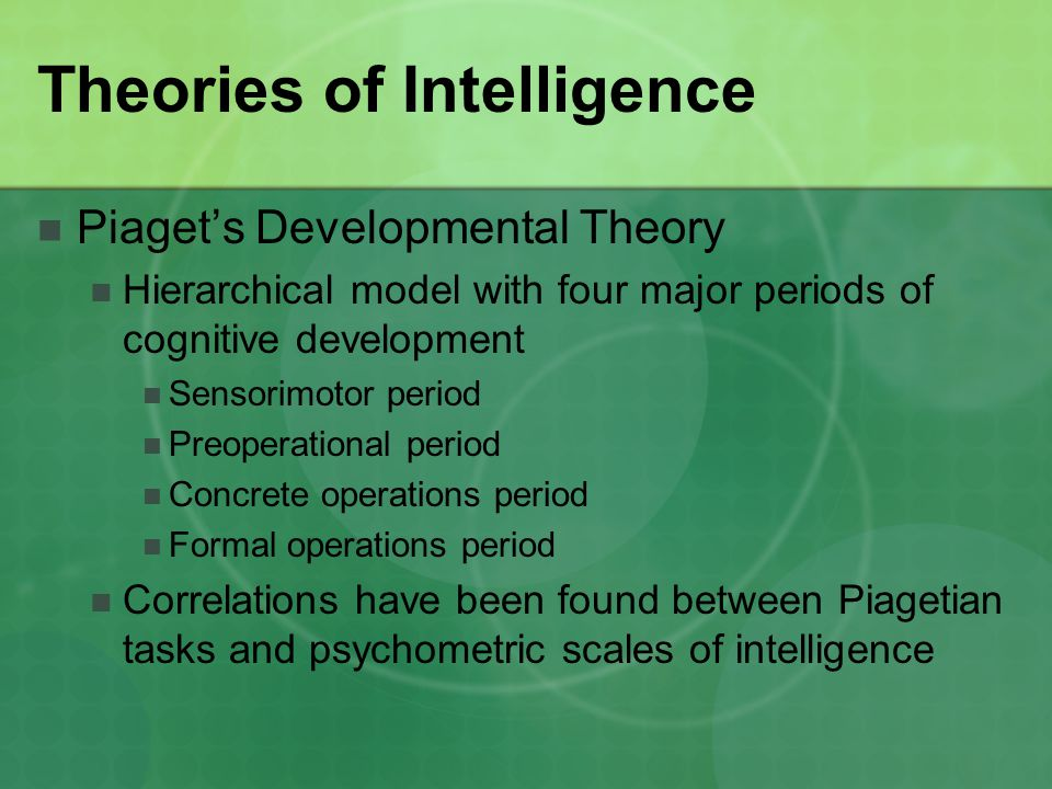 review of hierarchical theories of intelligence Home // publications & databases // apa books // models of intelligence (hardcover construct validity of the theory of successful intelligence reviews & awards.
