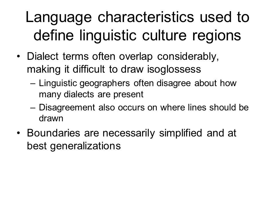 Definitions of linguistic features
