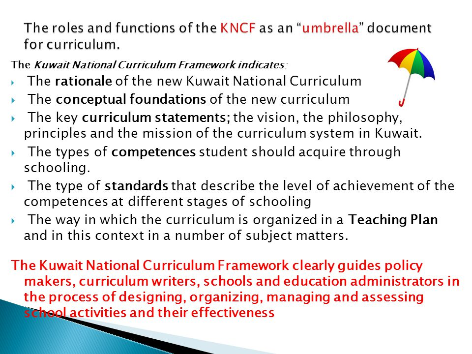 kuwait national curriculum competence and standards based