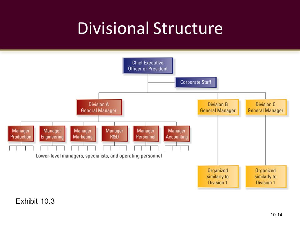 Divisional Structure Exhibit 10.3