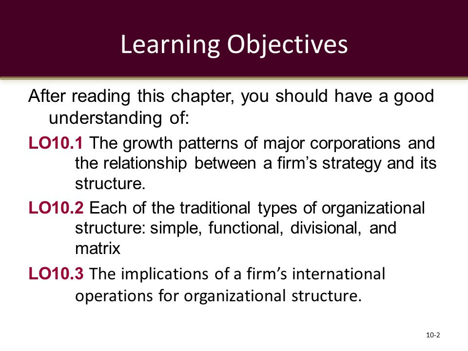 Learning Objectives After reading this chapter, you should have a good understanding of: