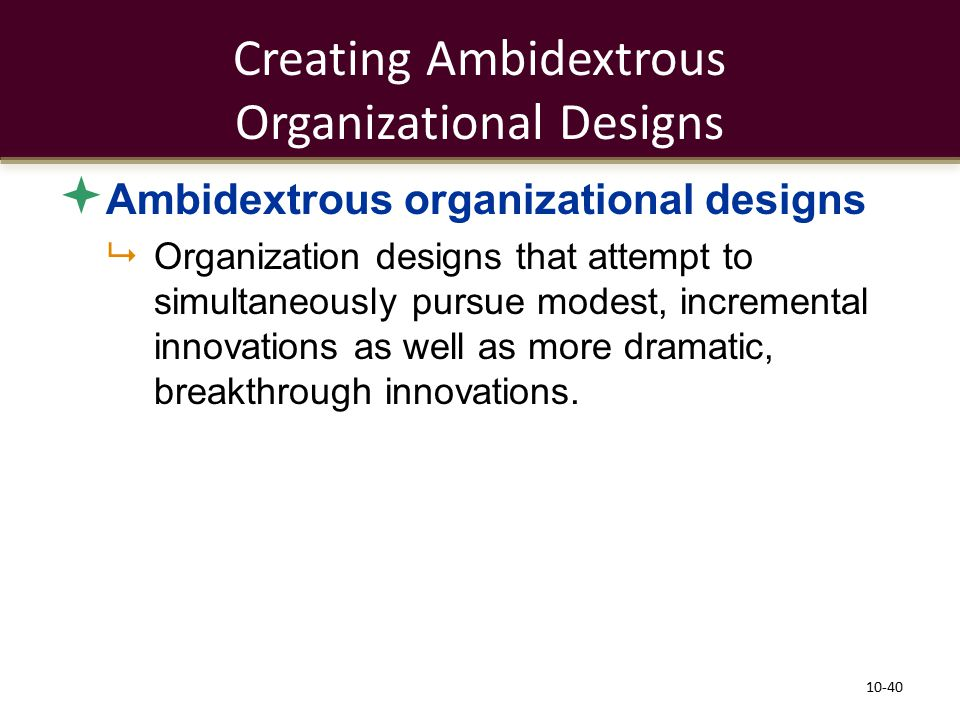 Creating Ambidextrous Organizational Designs