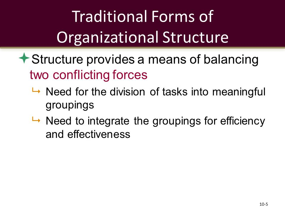 Traditional Forms of Organizational Structure