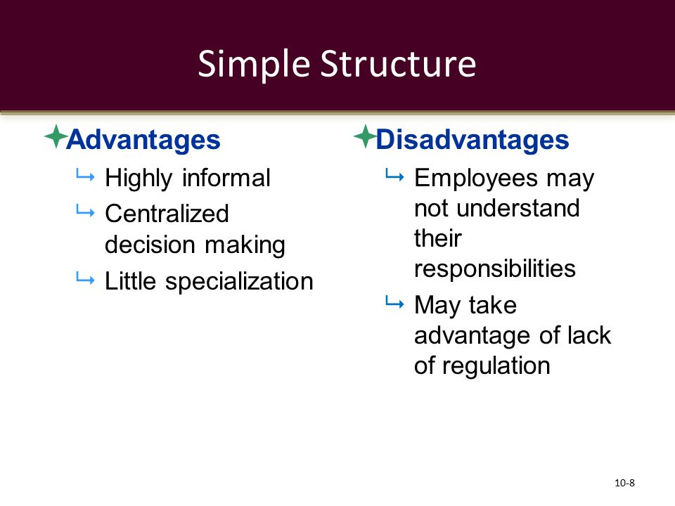 Simple Structure Advantages Disadvantages Highly informal