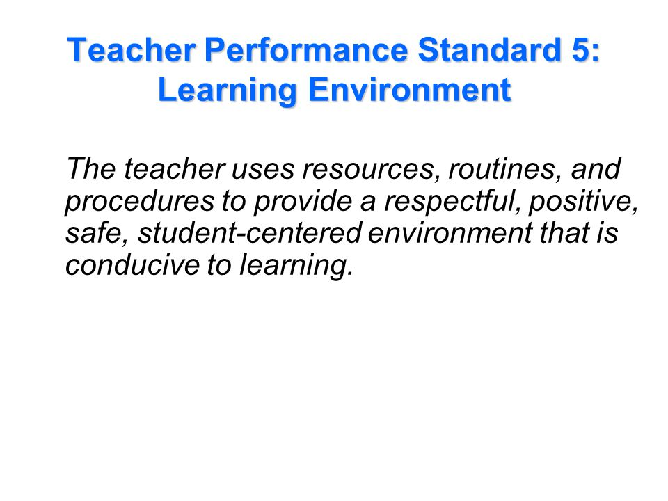 Performance Indicators Examples for Standard 5: