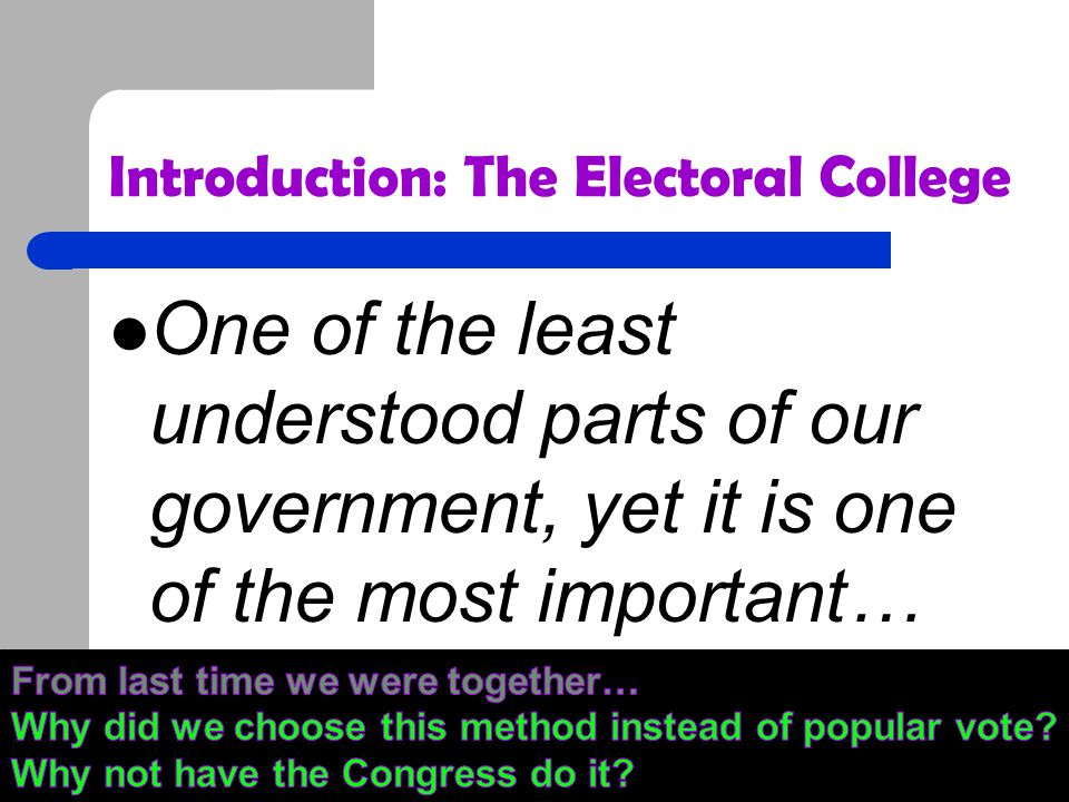 Introduction: The Electoral College