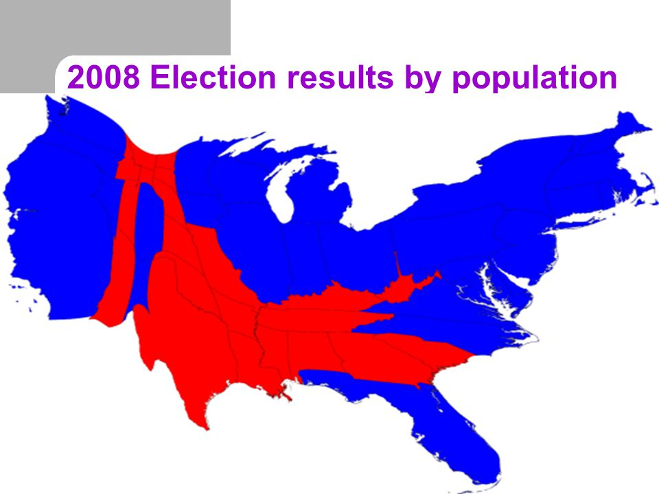 2008 Election results by population