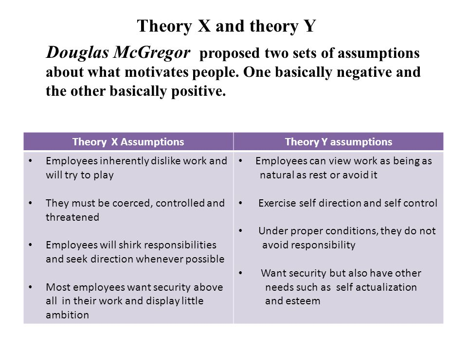 theory x and y