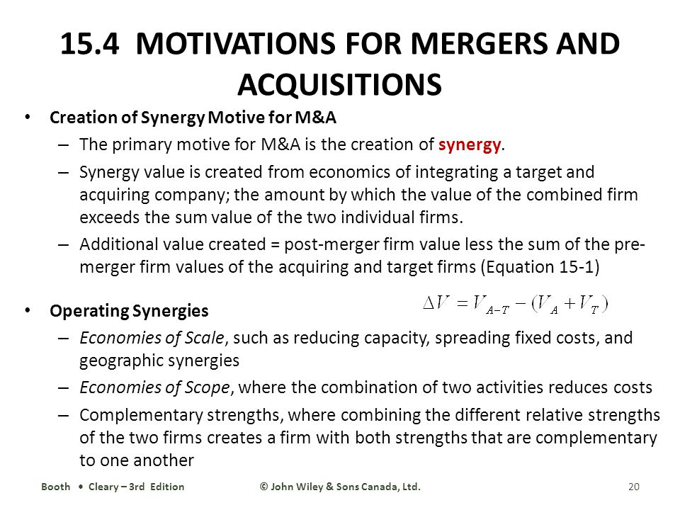 the motive behind mergers and acquisition Of reviewing those mergers) we begin with a short list of possible motives for  mergers ii merger and acquisition motives there are a.
