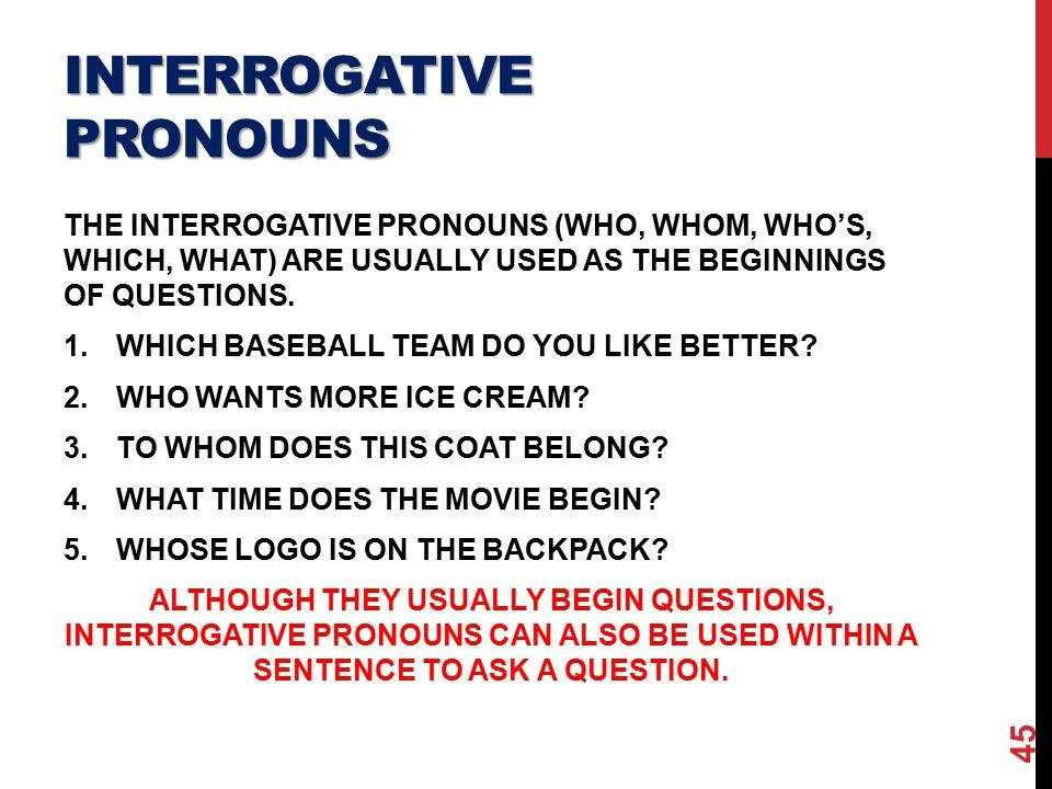 how to teach interrogative pronouns