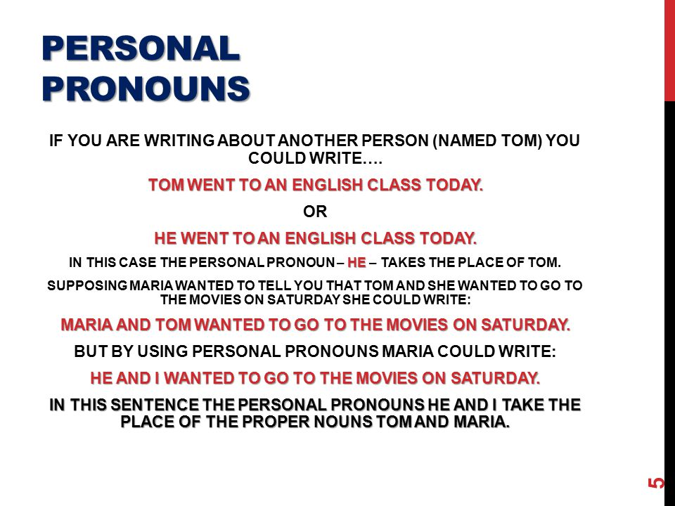 Write all personal pronouns