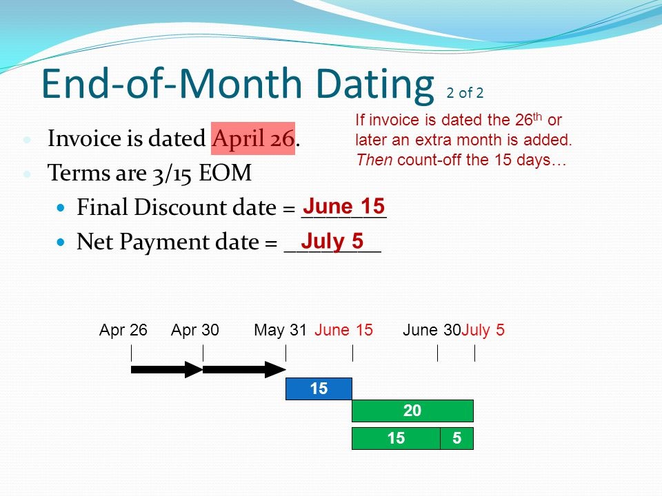 eom invoice dating Cash discounts using rog dating examine an invoice and learn how to calculate a cash discount using the rog calculate discount, calculate eom dating discount.