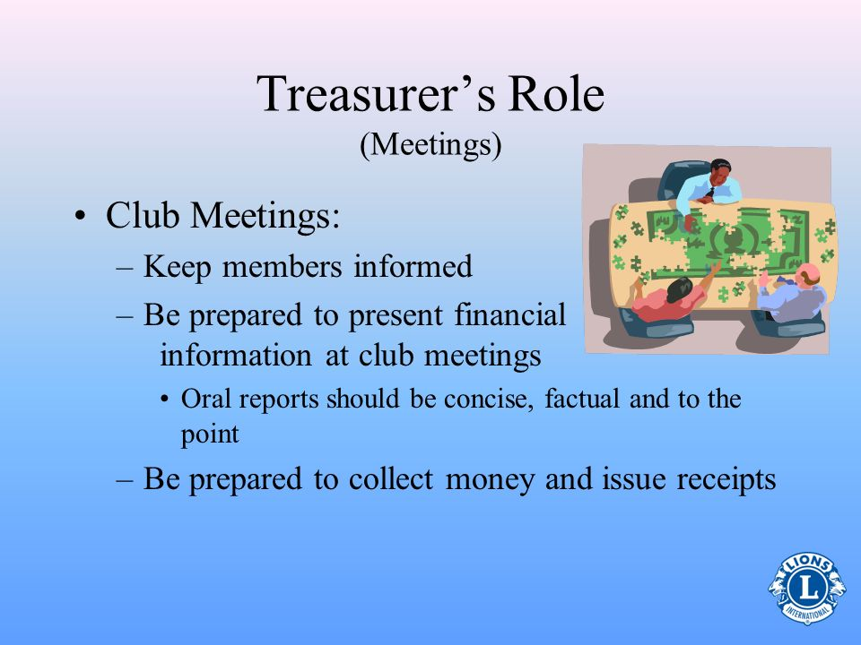 Treasurer's Role (Meetings)
