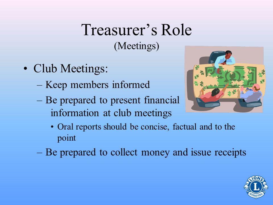 Treasurer's Role (Meetings)