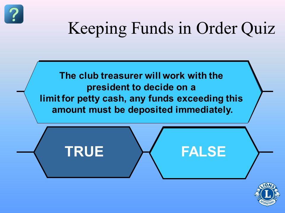 Keeping Funds in Order Quiz