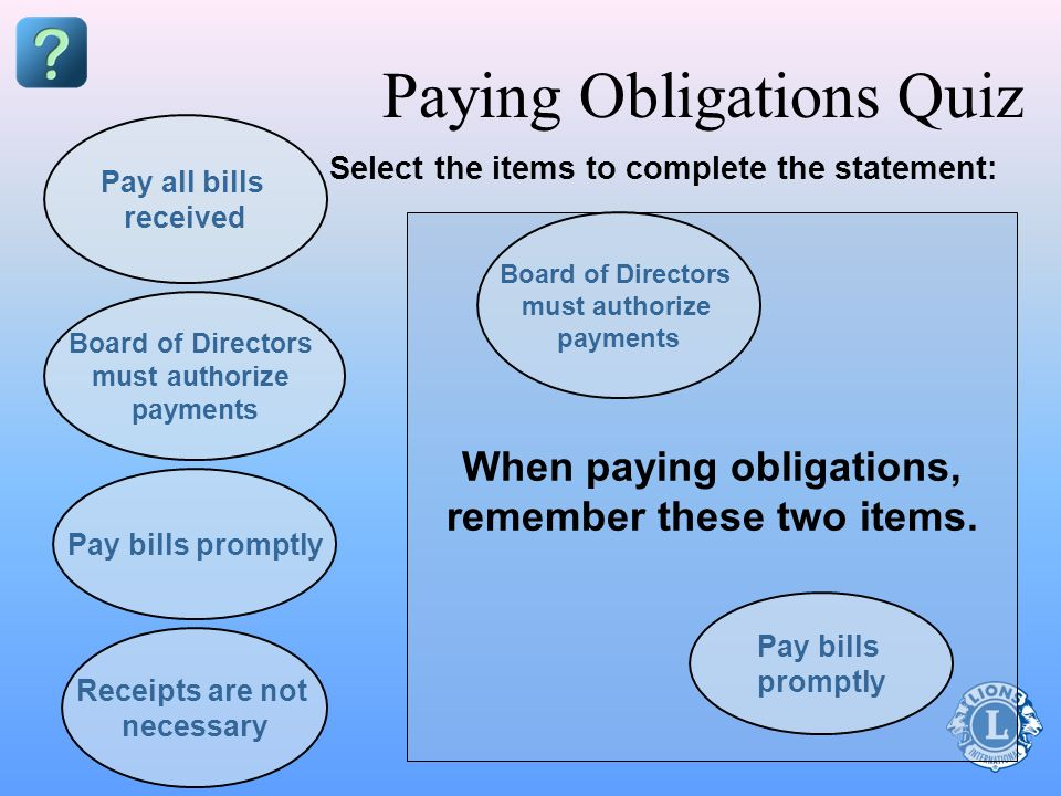 Paying Obligations Quiz