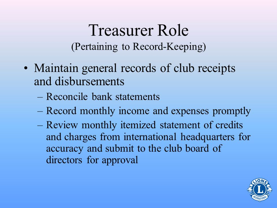 Treasurer Role (Pertaining to Record-Keeping)