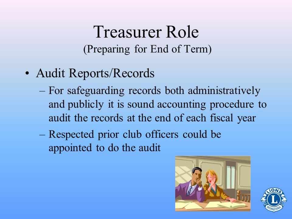 Treasurer Role (Preparing for End of Term)