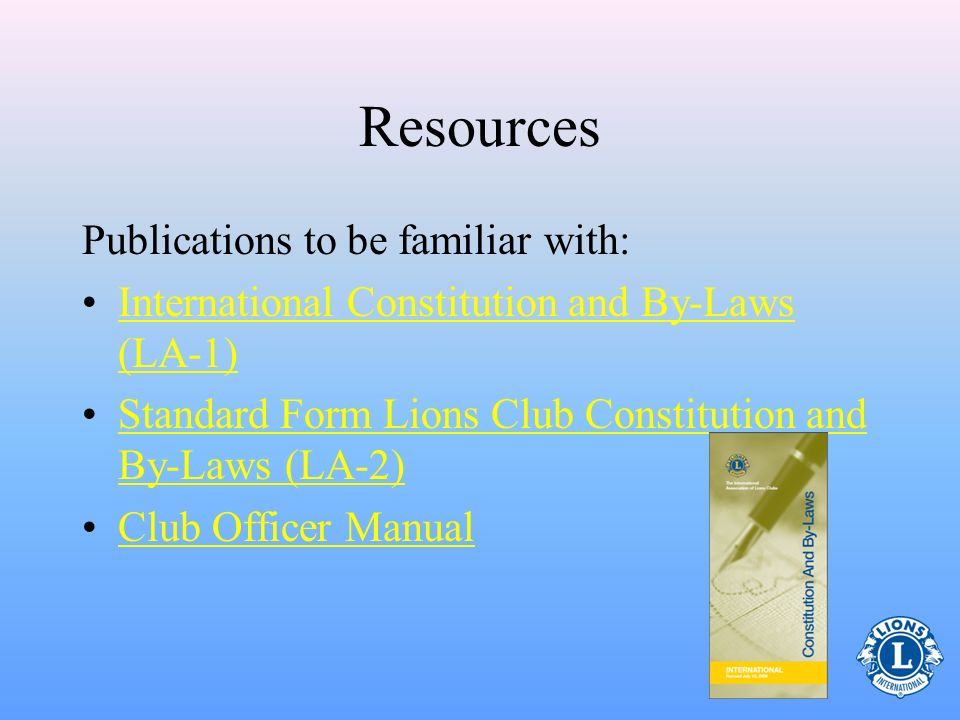 Resources Publications to be familiar with: