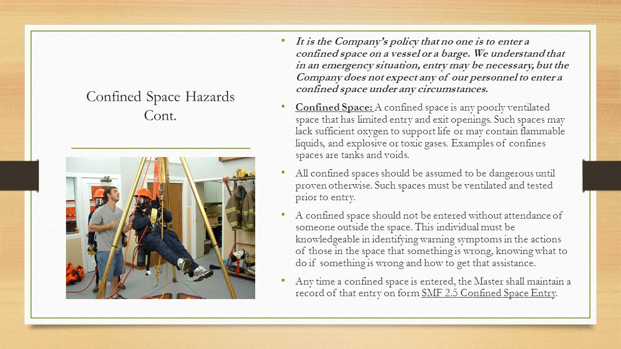 Confined Space Hazards Cont.