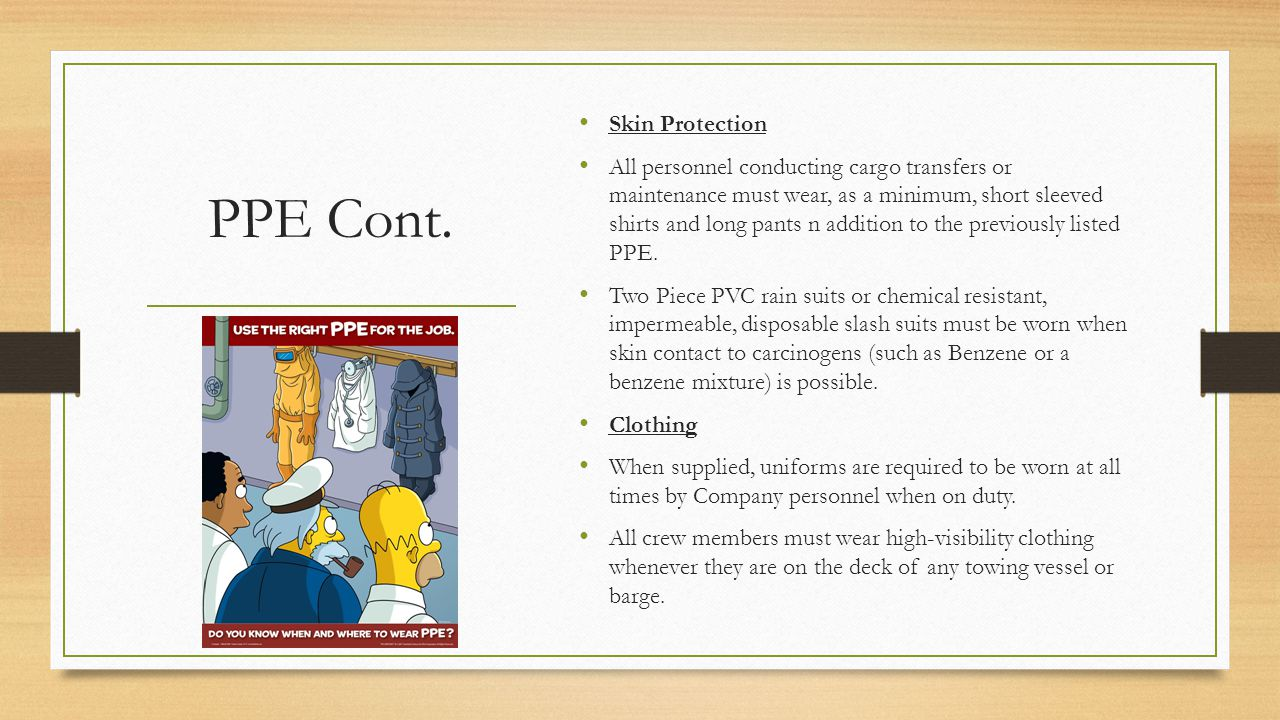 PPE Cont. Skin Protection