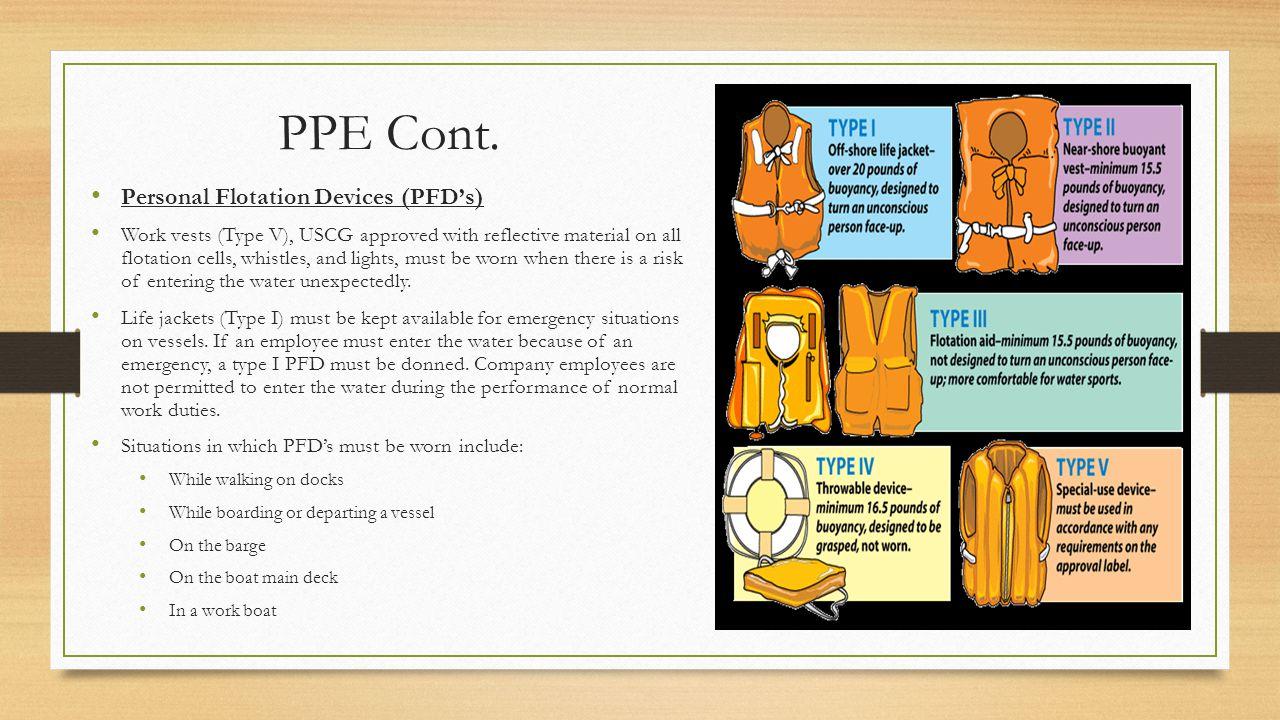 PPE Cont. Personal Flotation Devices (PFD's)