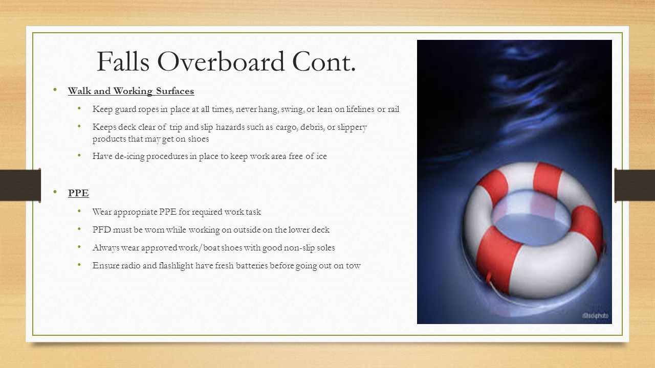 Falls Overboard Cont. Walk and Working Surfaces PPE