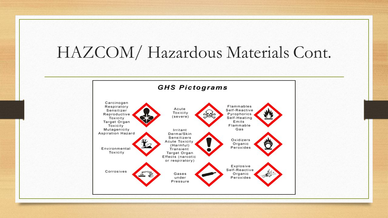 HAZCOM/ Hazardous Materials Cont.