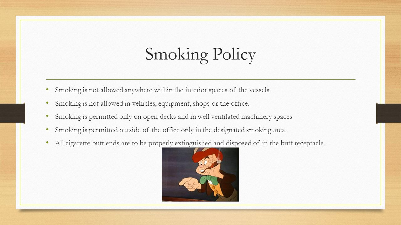Smoking Policy Smoking is not allowed anywhere within the interior spaces of the vessels.