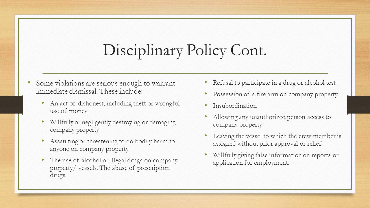 Disciplinary Policy Cont.