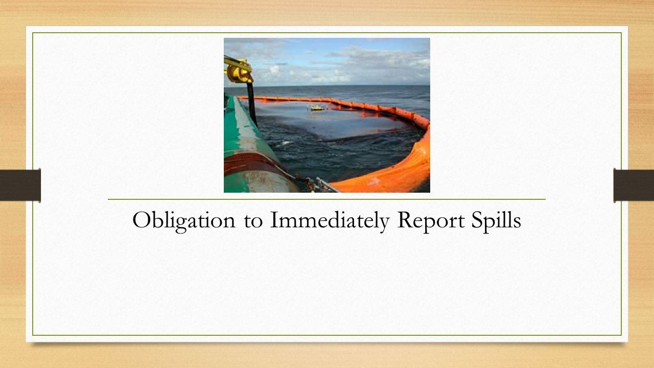 Obligation to Immediately Report Spills
