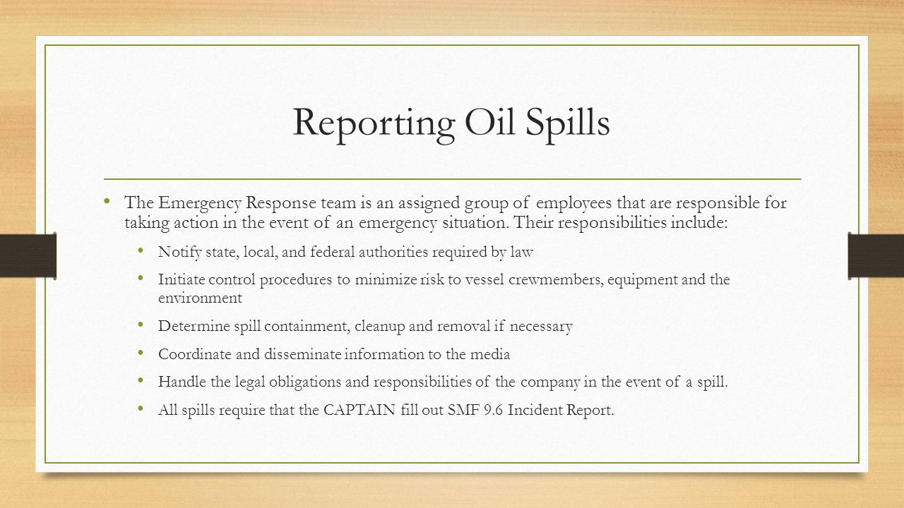 Reporting Oil Spills