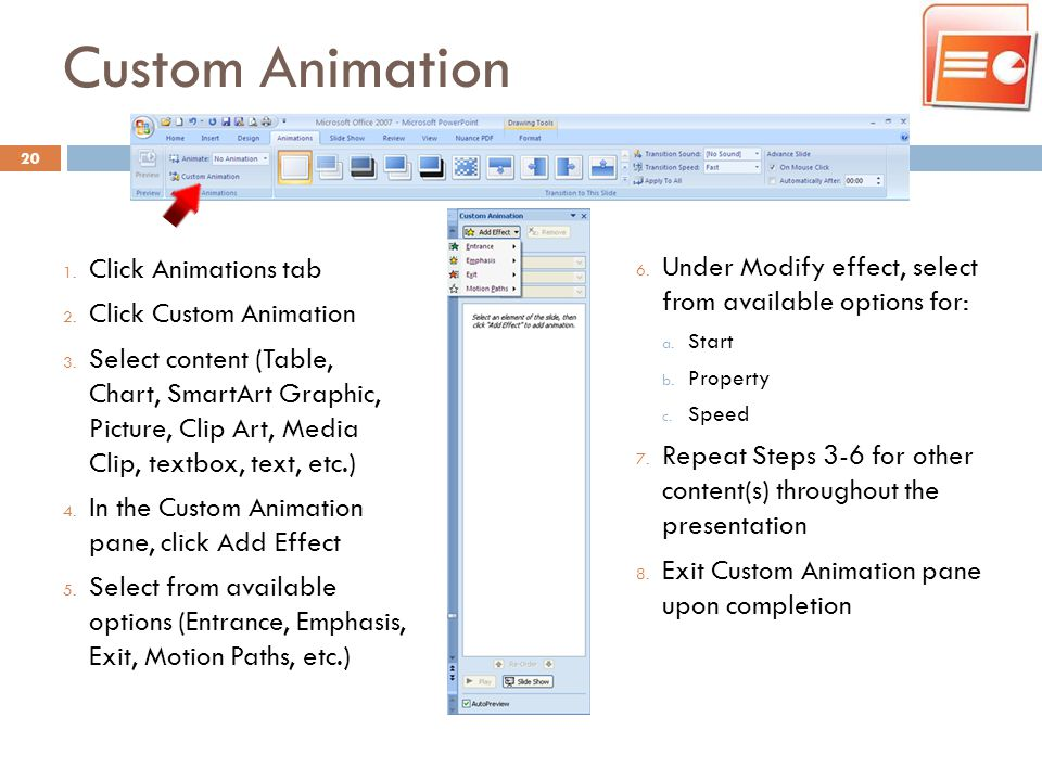 Custom Animation Click Animations tab