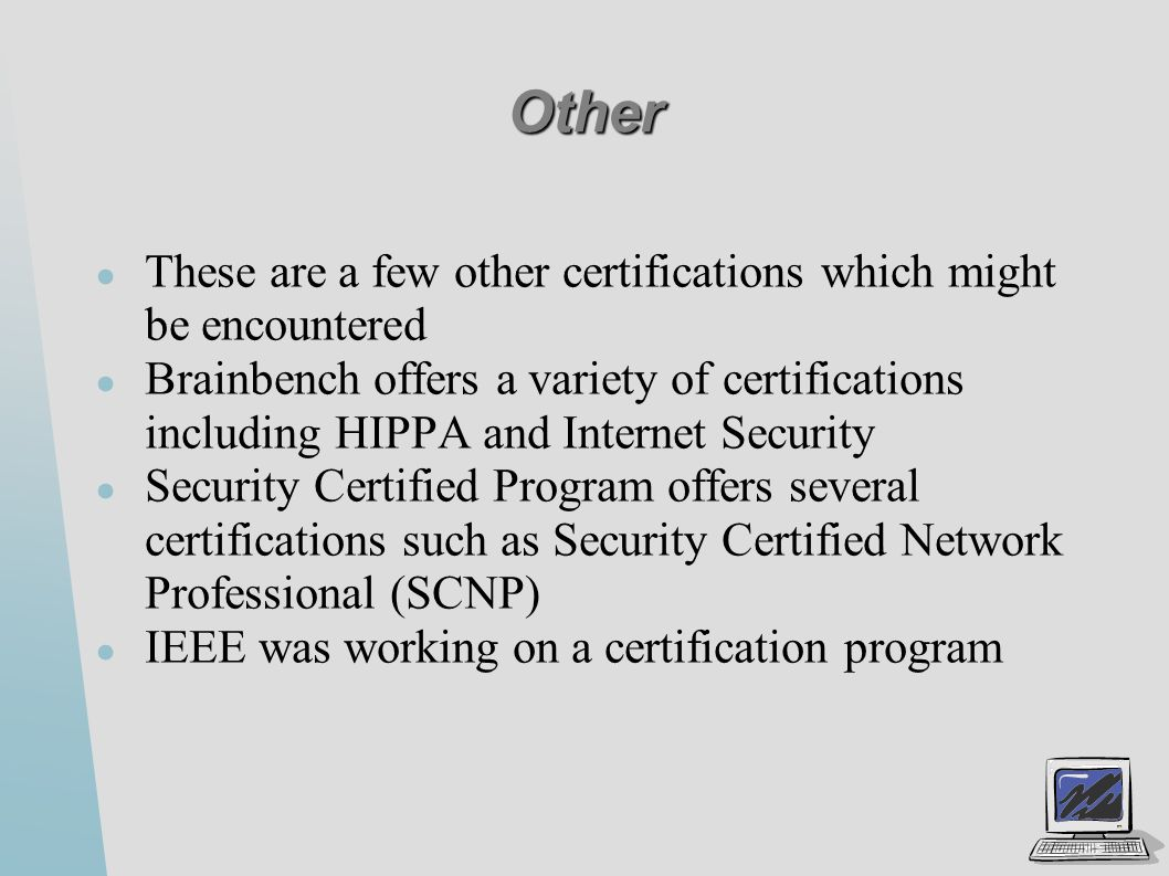 Security certifications ppt video online download other these are a few other certifications which might be encountered xflitez Images