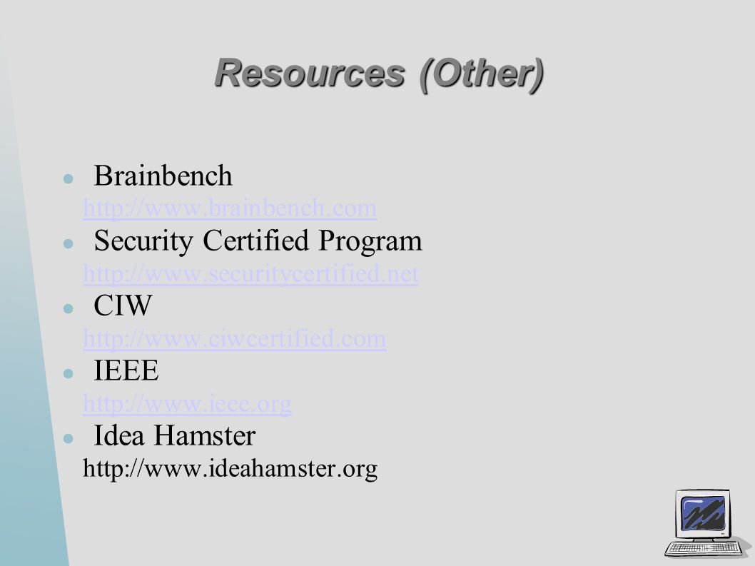 Security certifications ppt video online download resources other brainbench security certified program ciw ieee 1betcityfo Images